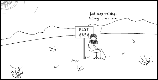 Comic image; comic text is as follows: Just keep walking... nothing to see here.